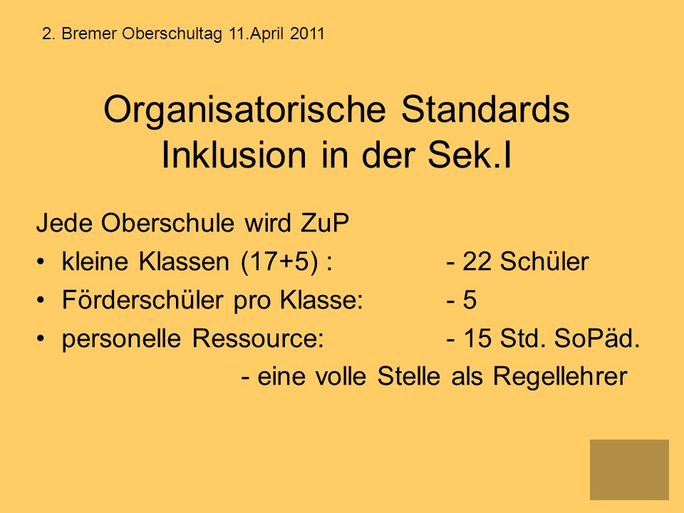 Organisatorische Standards Inklusion in der Sek.I