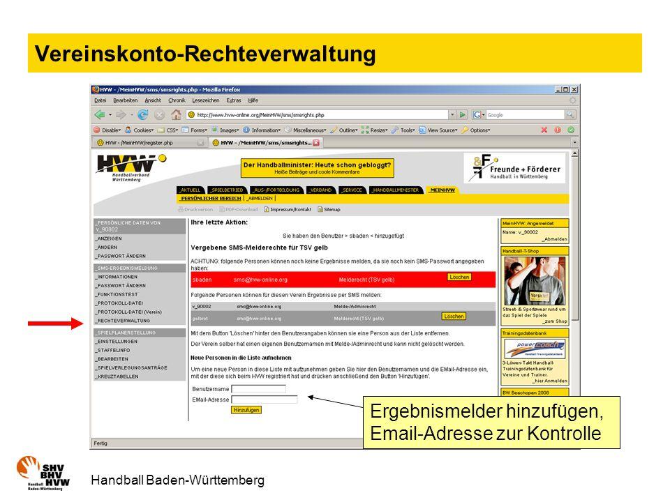 Vereinskonto-Rechteverwaltung