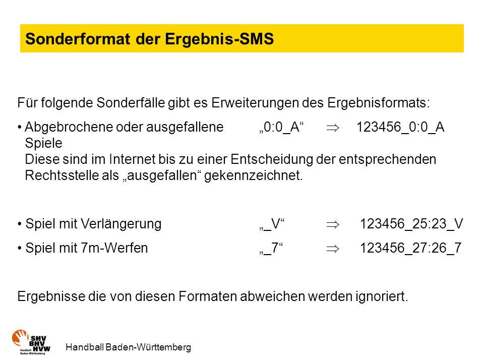 Sonderformat der Ergebnis-SMS