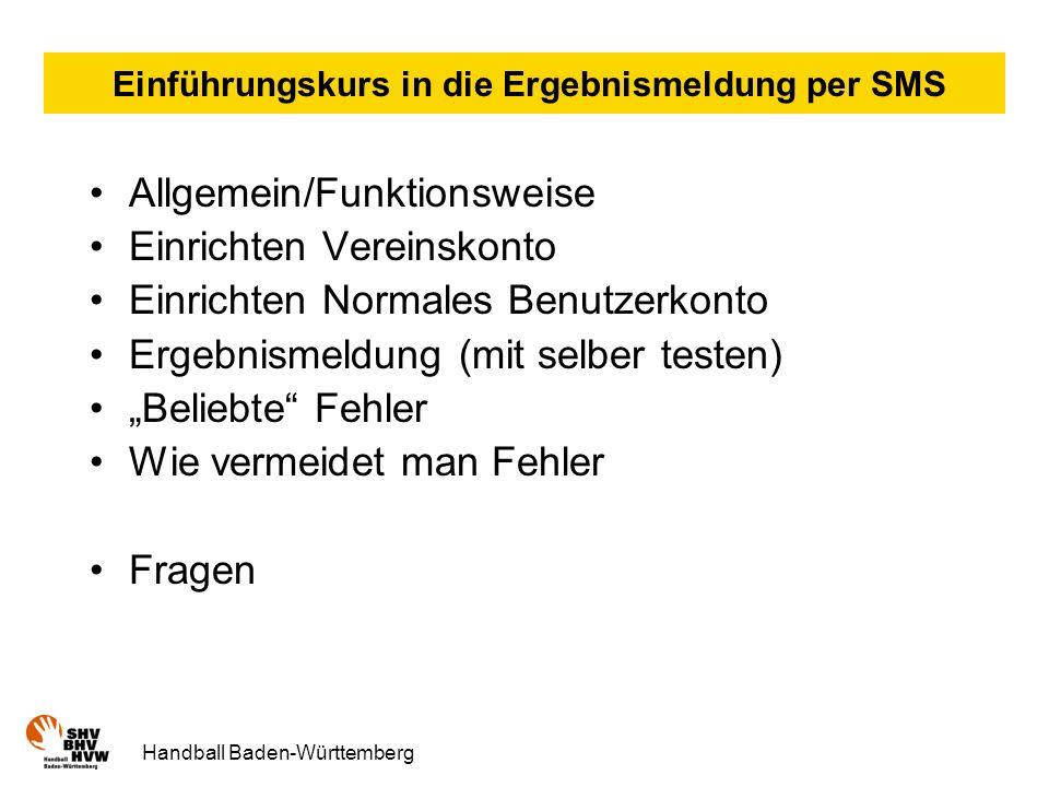 Einführungskurs in die Ergebnismeldung per SMS