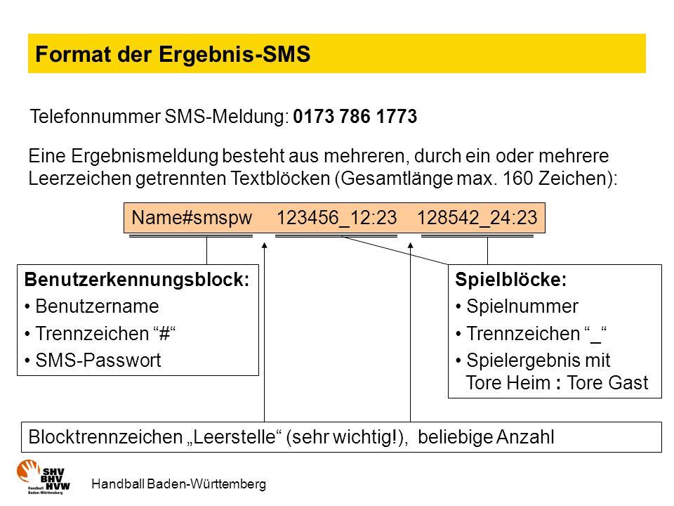 Format der Ergebnis-SMS
