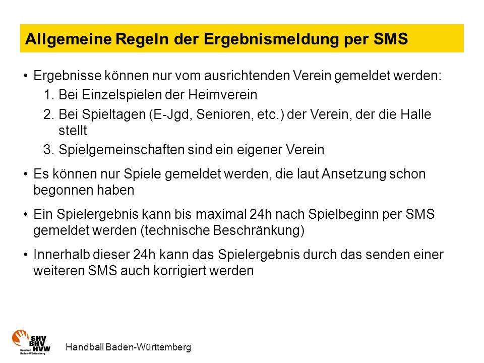 Allgemeine Regeln der Ergebnismeldung per SMS