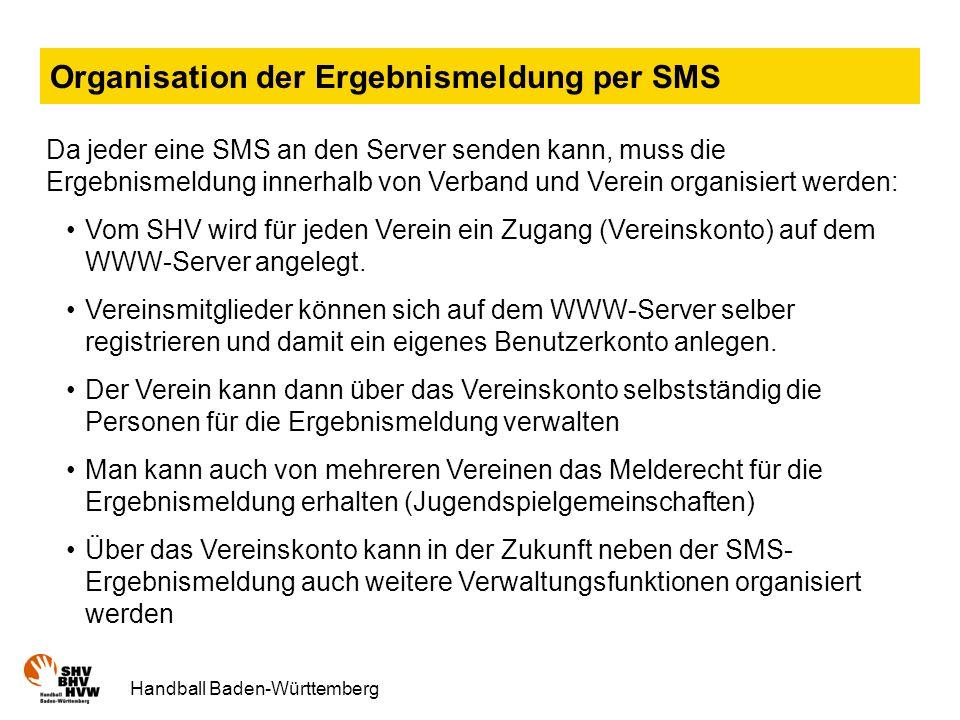 Organisation der Ergebnismeldung per SMS