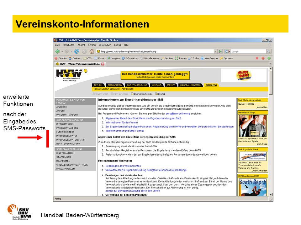 Vereinskonto-Informationen