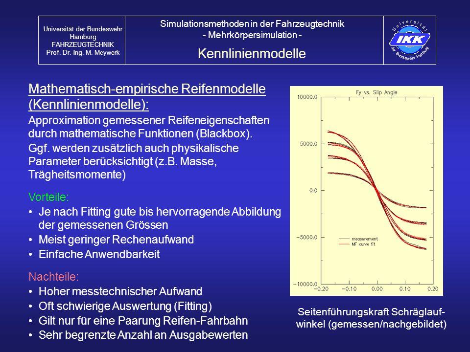 Mathematisch-empirische Reifenmodelle (Kennlinienmodelle):