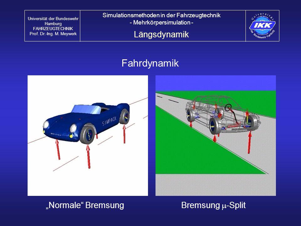 "Fahrdynamik Längsdynamik ""Normale Bremsung Bremsung m-Split"