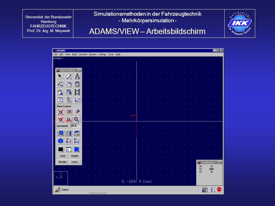 ADAMS/VIEW – Arbeitsbildschirm