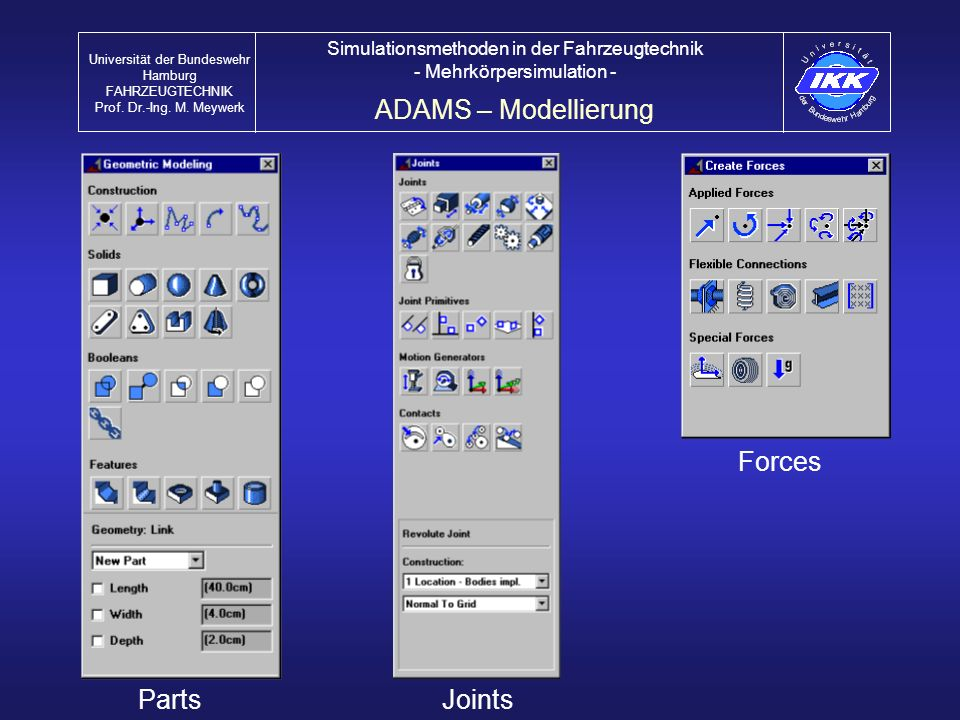 ADAMS – Modellierung Forces Parts Joints