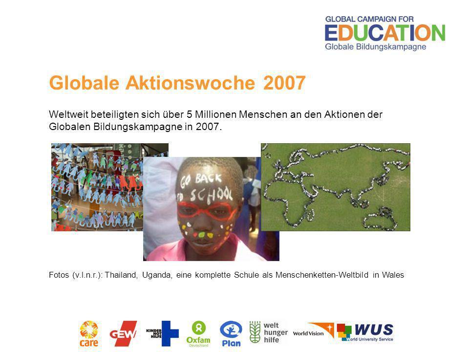 Globale Aktionswoche 2007Weltweit beteiligten sich über 5 Millionen Menschen an den Aktionen der Globalen Bildungskampagne in 2007.
