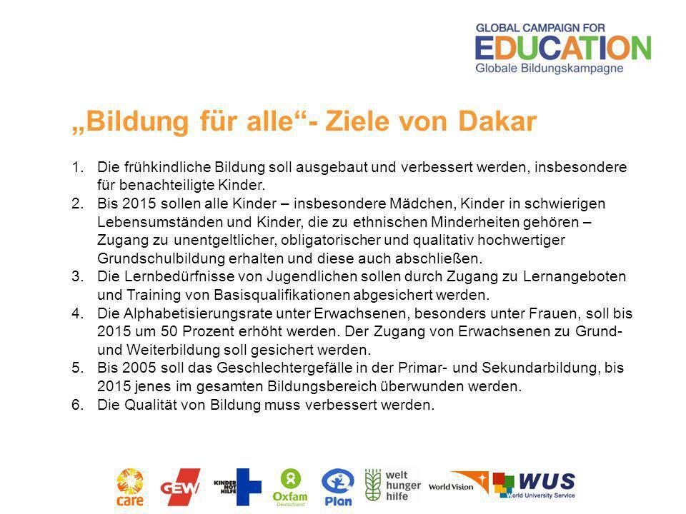 """""""Bildung für alle - Ziele von Dakar"""