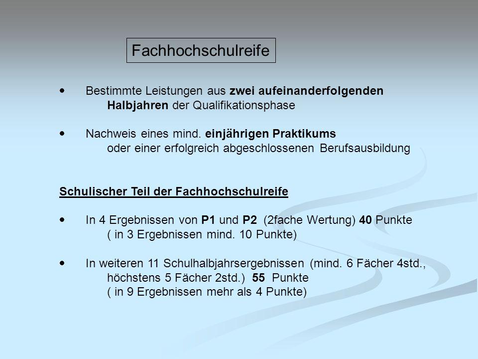 Fachhochschulreife · Bestimmte Leistungen aus zwei aufeinanderfolgenden Halbjahren der Qualifikationsphase.