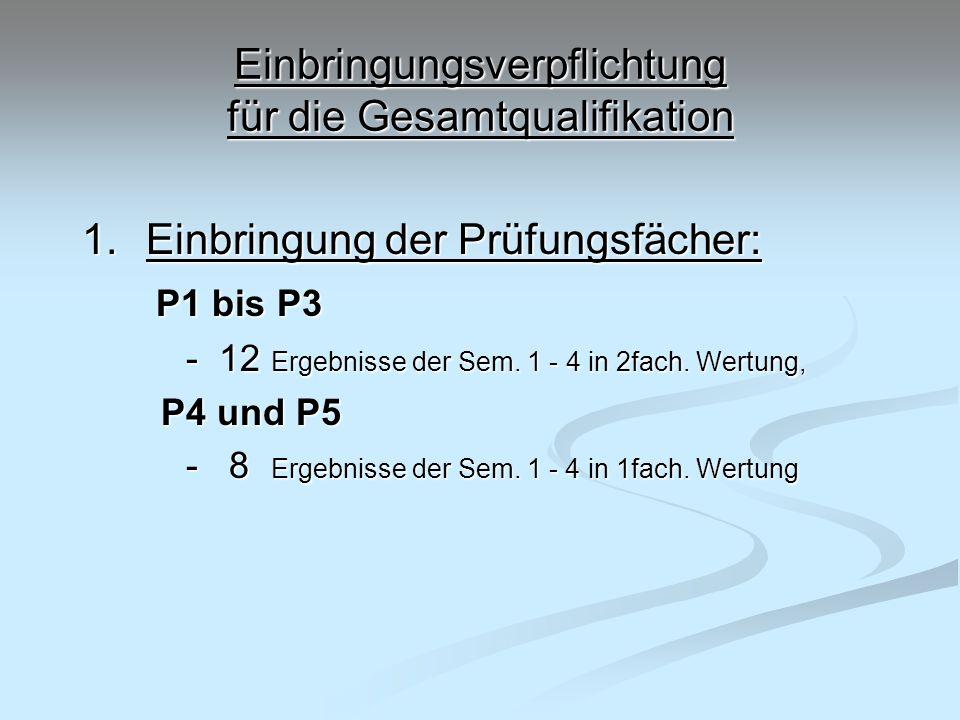 Einbringungsverpflichtung für die Gesamtqualifikation