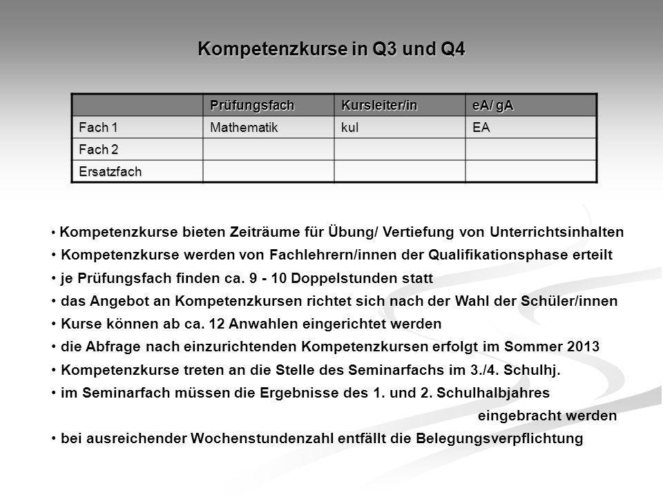 Kompetenzkurse in Q3 und Q4