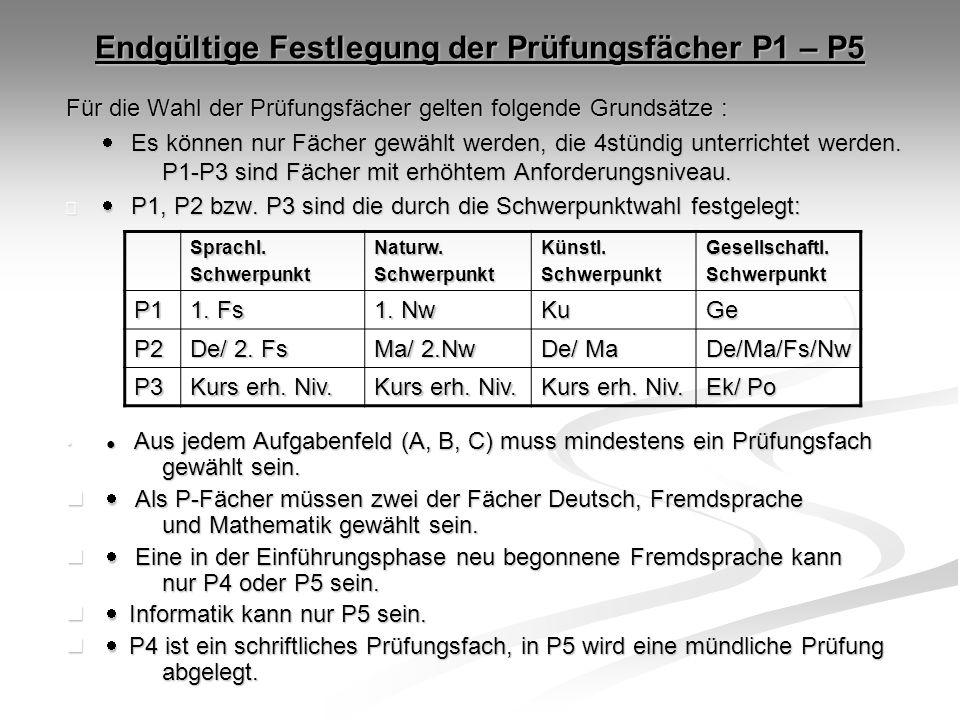 Endgültige Festlegung der Prüfungsfächer P1 – P5