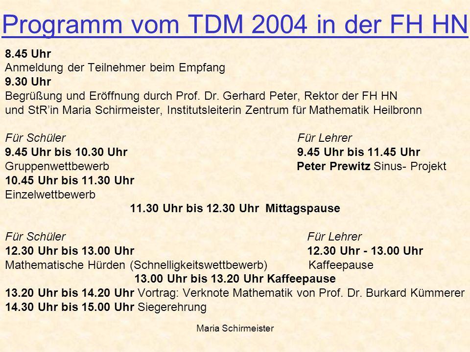 Programm vom TDM 2004 in der FH HN