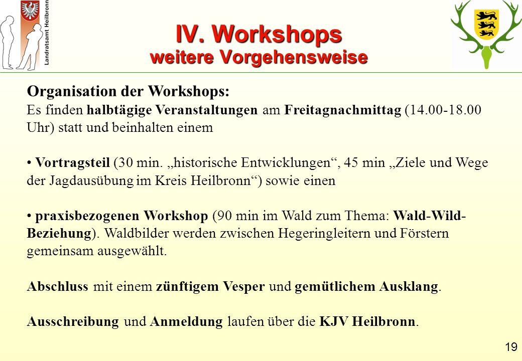 IV. Workshops weitere Vorgehensweise