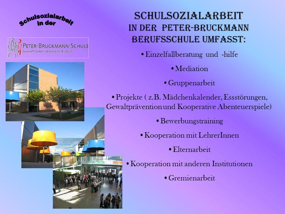 Schulsozialarbeit in der Peter-Bruckmann Berufsschule umfasst: