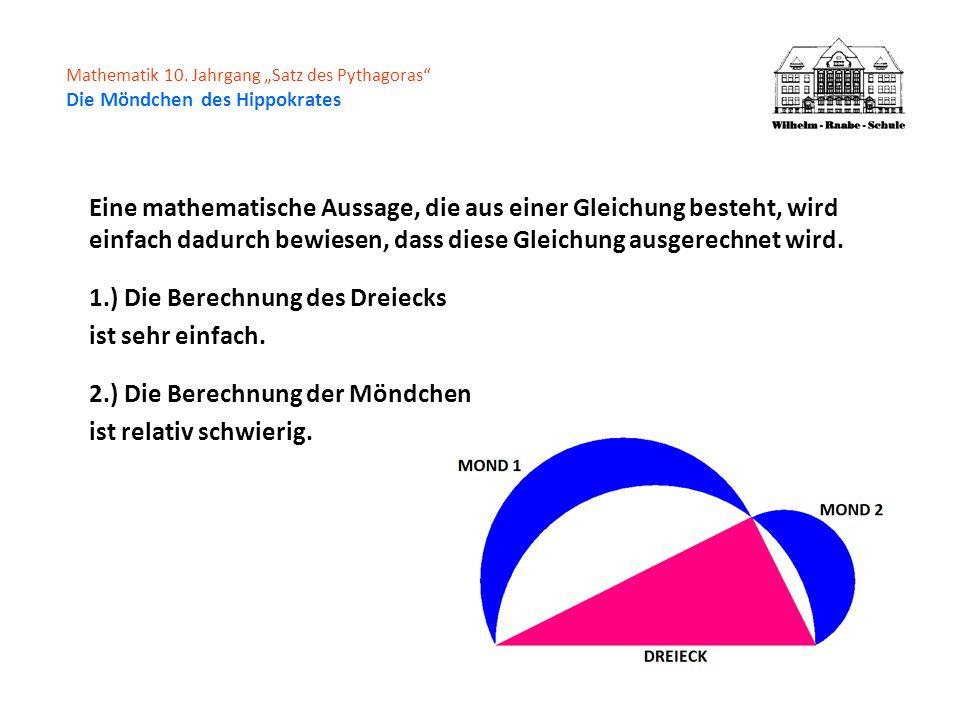 1.) Die Berechnung des Dreiecks ist sehr einfach.