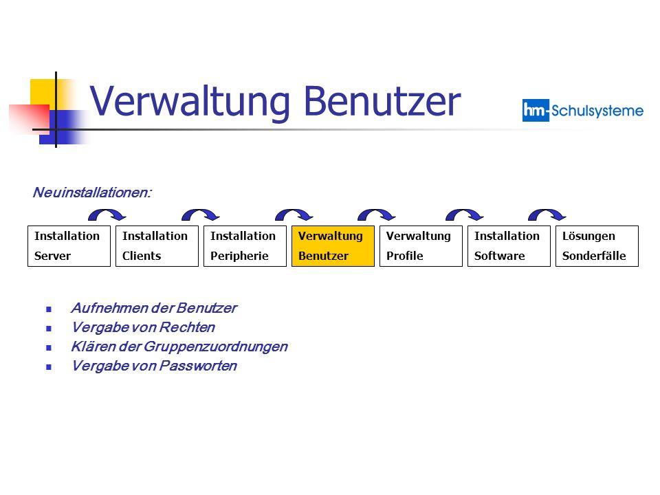 Verwaltung Benutzer Neuinstallationen: Aufnehmen der Benutzer