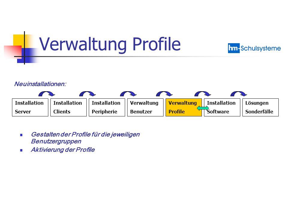 Verwaltung Profile Neuinstallationen:
