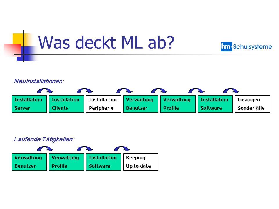 Was deckt ML ab Neuinstallationen: Laufende Tätigkeiten: Installation