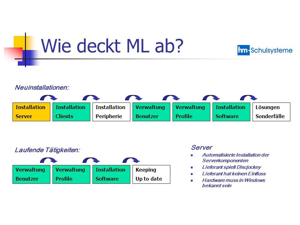 Wie deckt ML ab Neuinstallationen: Server Laufende Tätigkeiten: