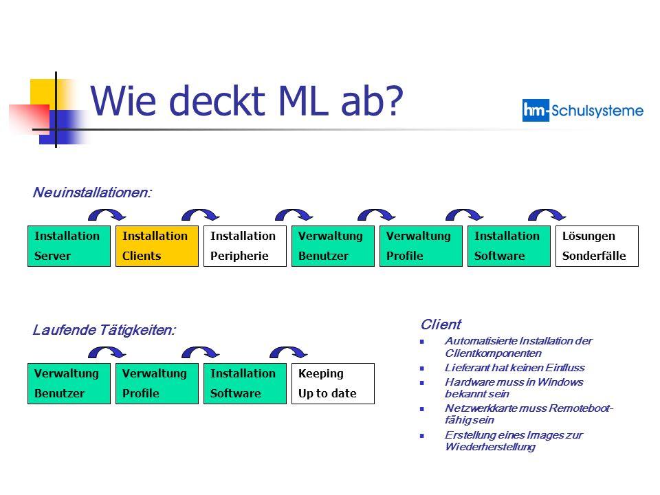 Wie deckt ML ab Neuinstallationen: Client Laufende Tätigkeiten: