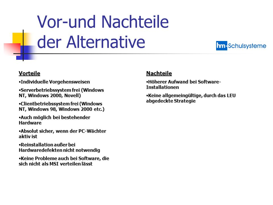 Vor-und Nachteile der Alternative