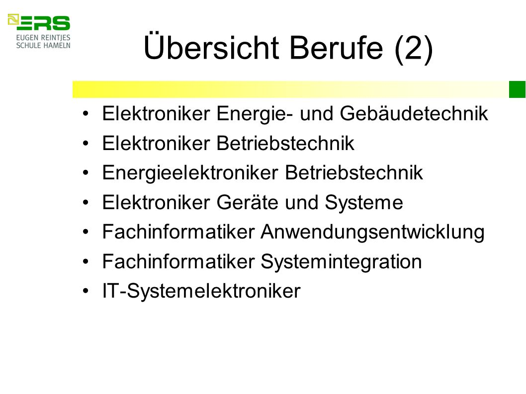 Übersicht Berufe (2) Elektroniker Energie- und Gebäudetechnik