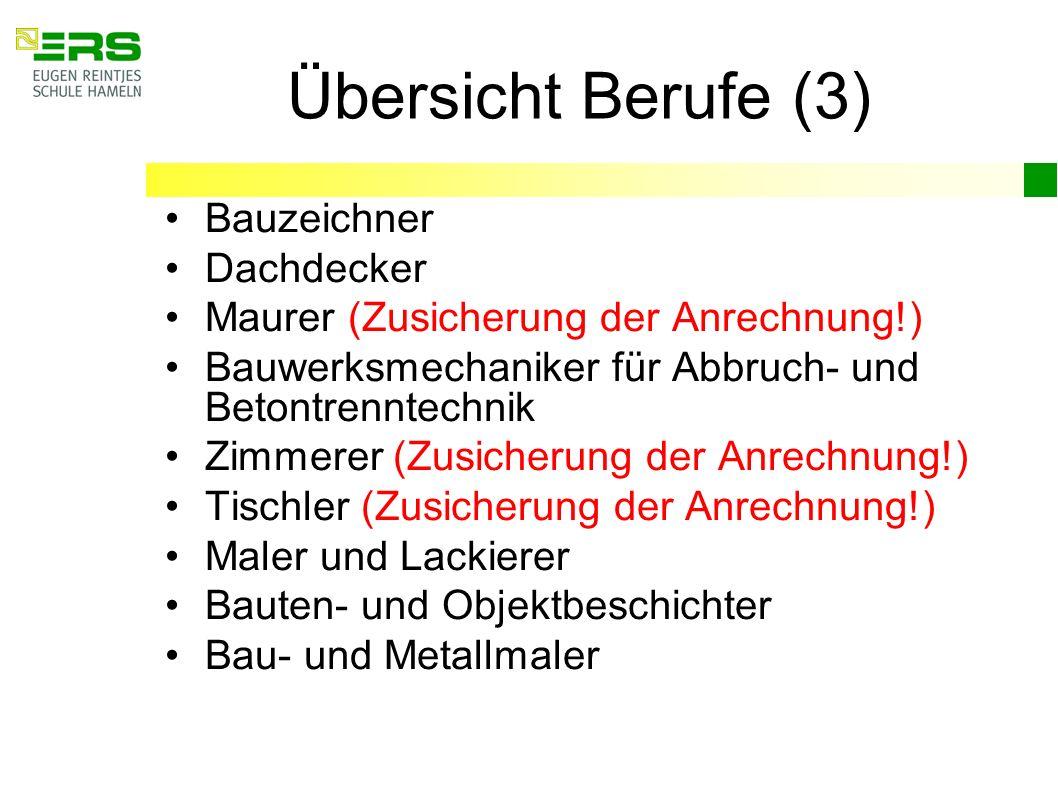 Übersicht Berufe (3) Bauzeichner Dachdecker