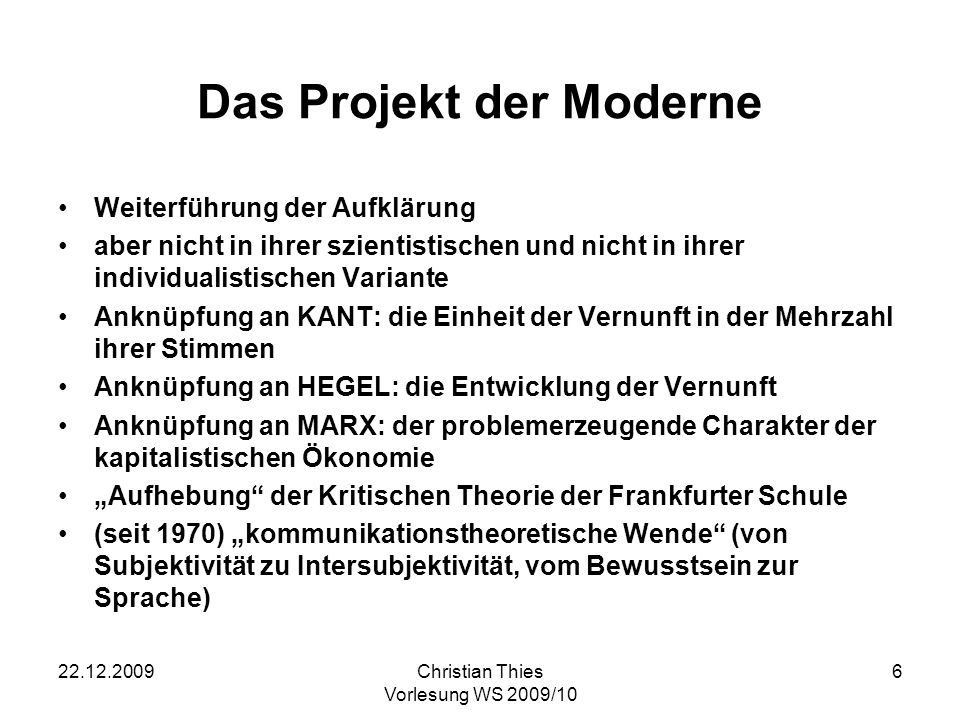 Das Projekt der Moderne