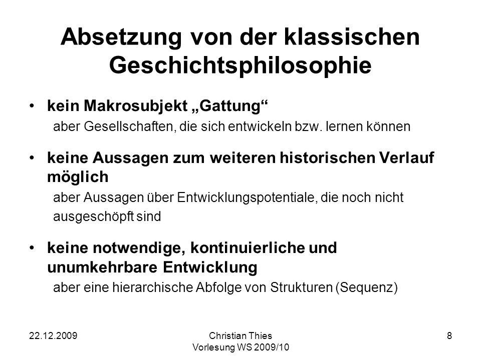 Absetzung von der klassischen Geschichtsphilosophie