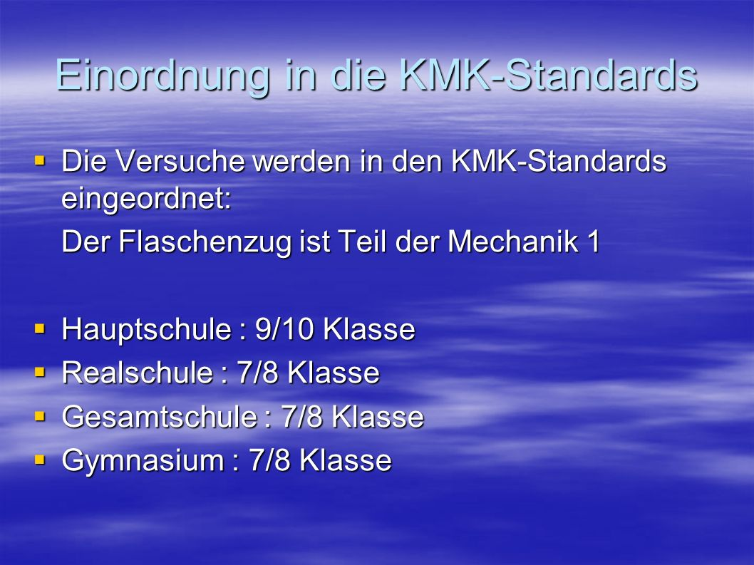 Einordnung in die KMK-Standards