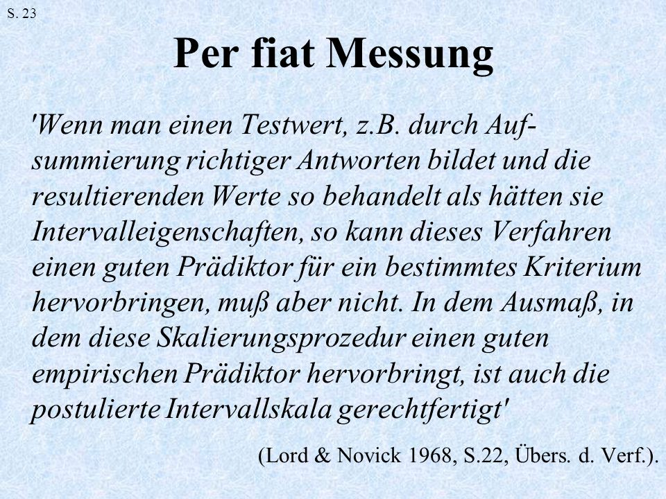 S. 23Per fiat Messung.