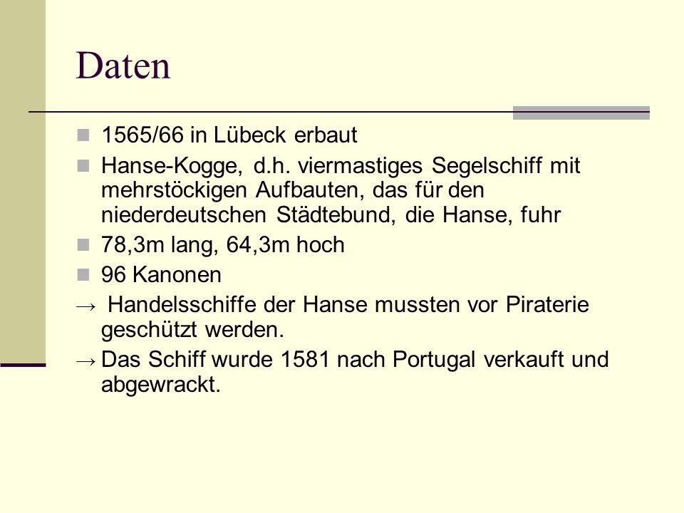 Daten 1565/66 in Lübeck erbaut