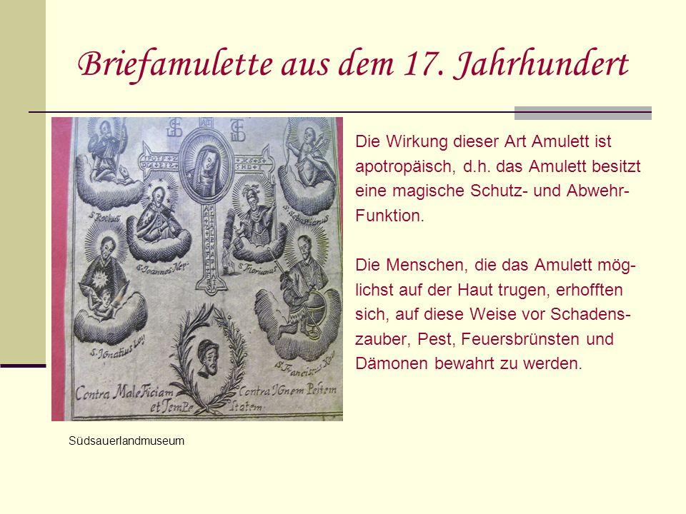 Briefamulette aus dem 17. Jahrhundert