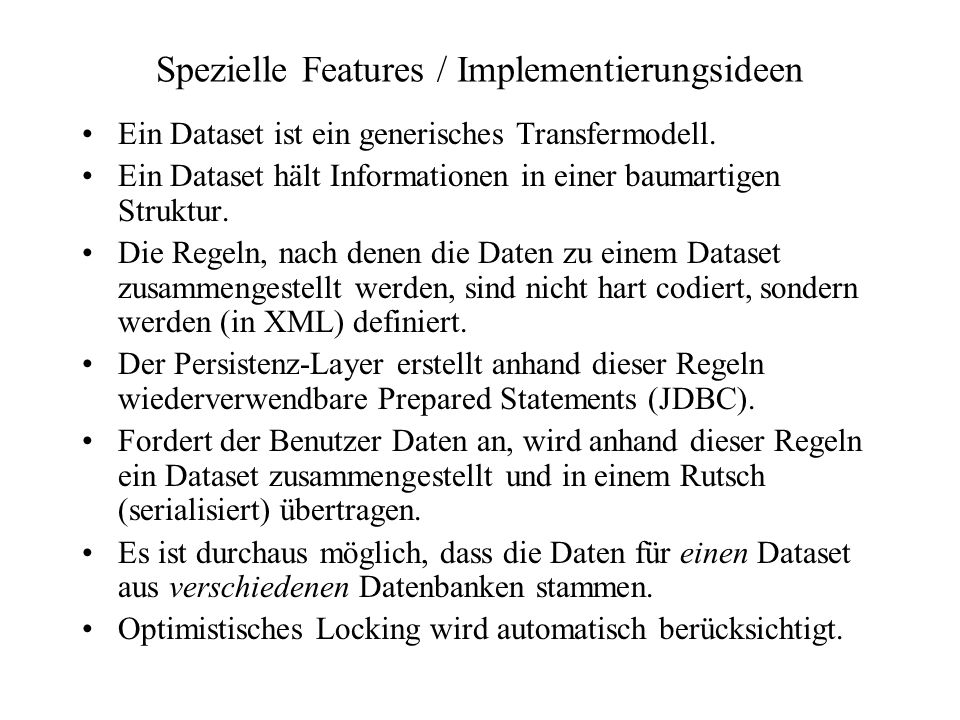 Spezielle Features / Implementierungsideen