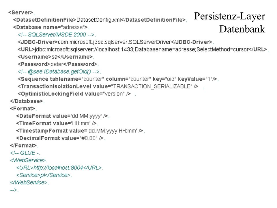 Persistenz-Layer Datenbank