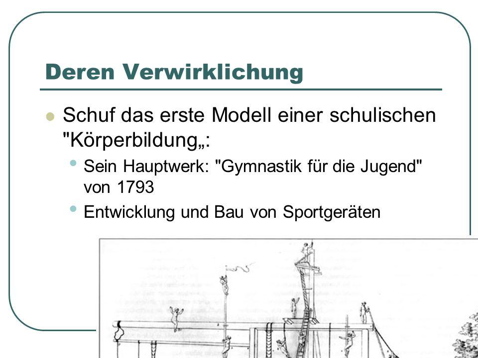 """Deren Verwirklichung Schuf das erste Modell einer schulischen Körperbildung"""": Sein Hauptwerk: Gymnastik für die Jugend von 1793."""