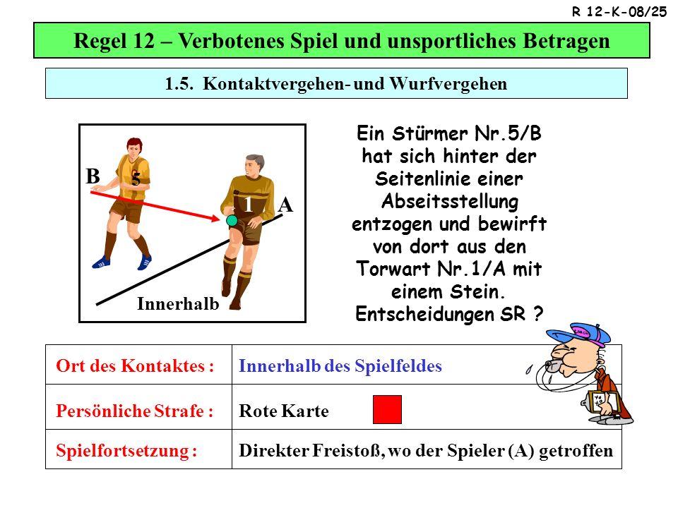 Regel 12 – Verbotenes Spiel und unsportliches Betragen B A 1 9