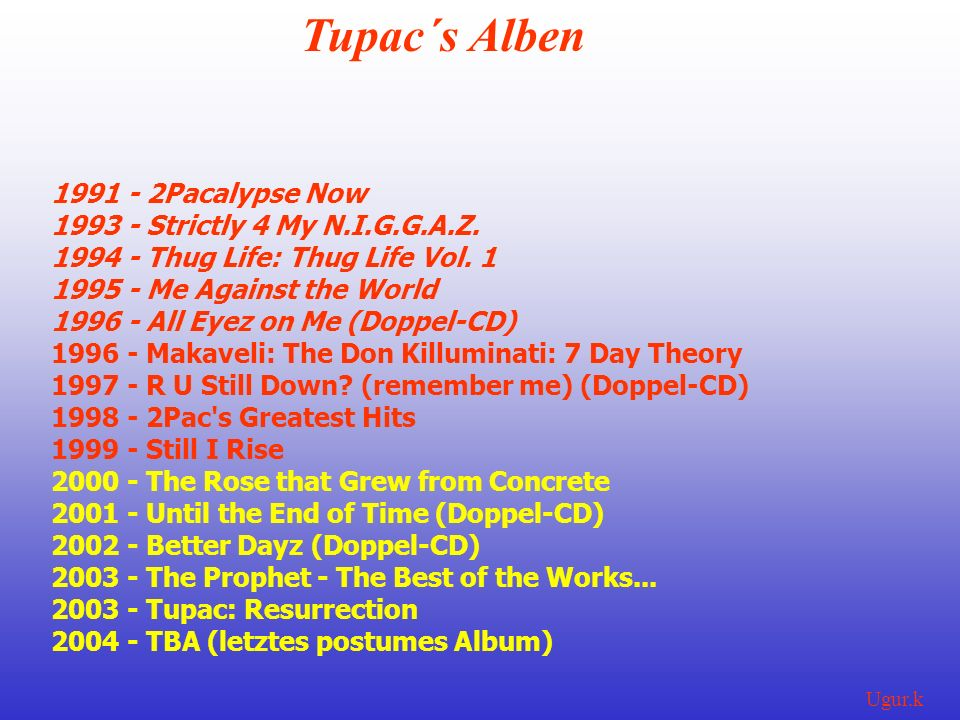 Tupac´s Alben 1991 - 2Pacalypse Now 1993 - Strictly 4 My N.I.G.G.A.Z.