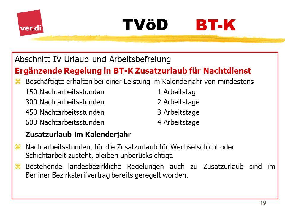 BT-K Abschnitt IV Urlaub und Arbeitsbefreiung