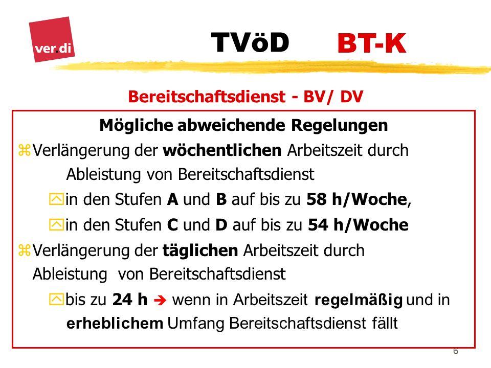 Bereitschaftsdienst - BV/ DV