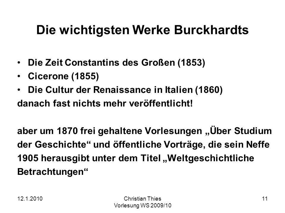 Die wichtigsten Werke Burckhardts