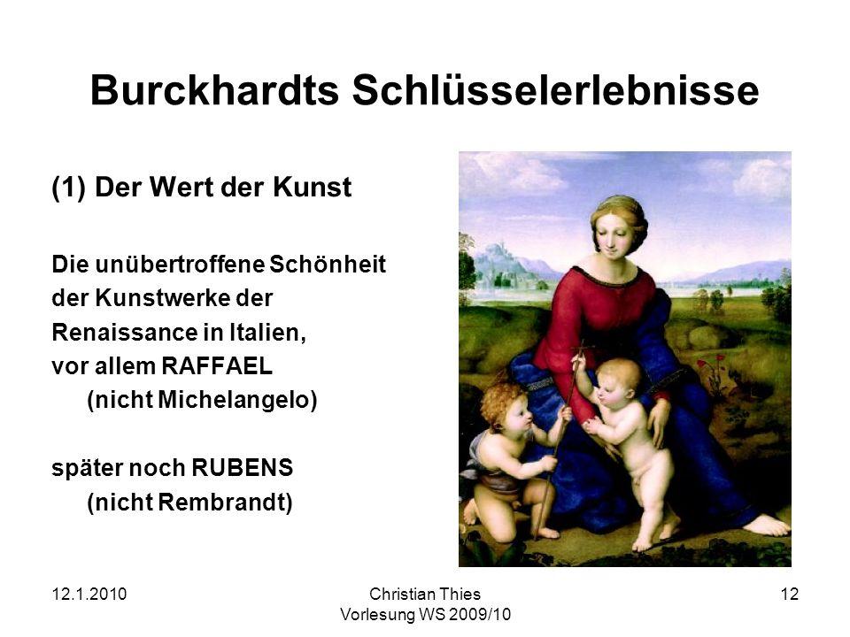 Burckhardts Schlüsselerlebnisse