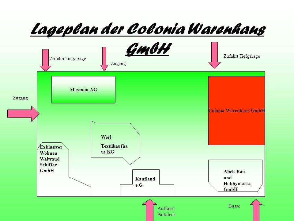 Lageplan der Colonia Warenhaus GmbH