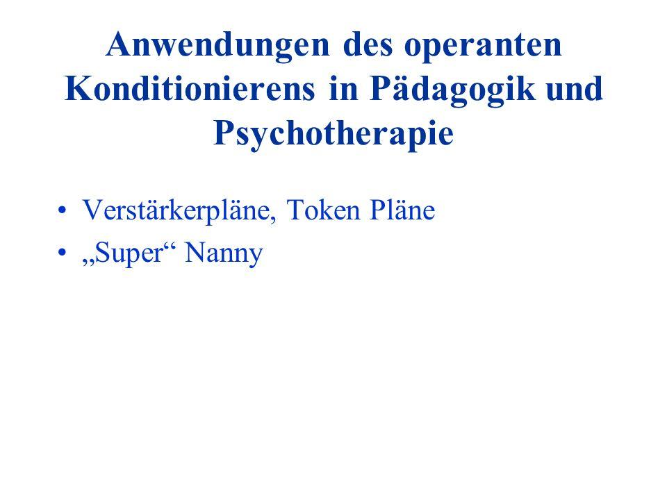 Anwendungen des operanten Konditionierens in Pädagogik und Psychotherapie