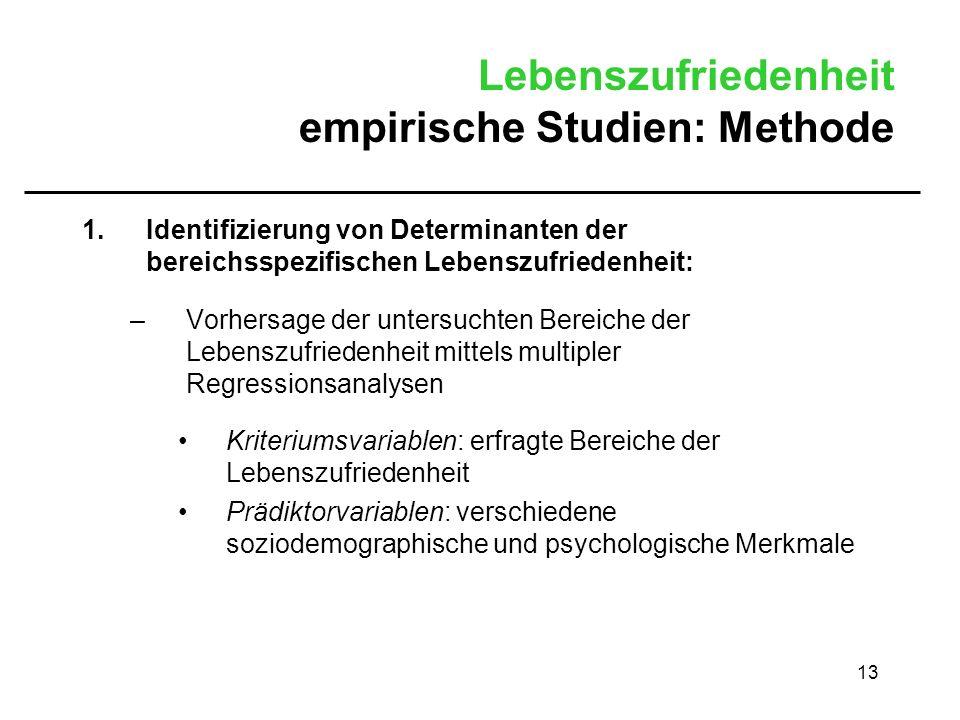 Lebenszufriedenheit empirische Studien: Methode