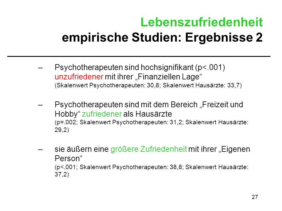 Lebenszufriedenheit empirische Studien: Ergebnisse 2
