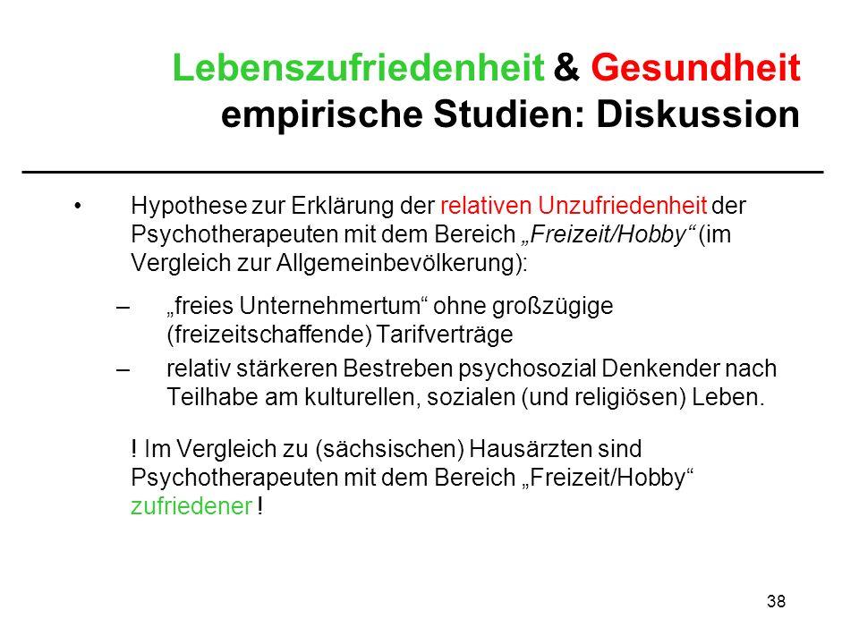 Lebenszufriedenheit & Gesundheit empirische Studien: Diskussion